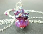 Purple Crystal Cluster Necklace, Hot Pink Purple Boro Lampwork Glass Bead Necklace, Purple Beadwork Necklace - Cherry Raspberry Jam