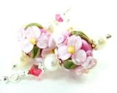 Dark Pink Floral Lampwork Earrings, Cerise Pink Light Pink Glass Bead Earrings, Pearl Earrings, Pink Earrings - Blushing Beauty