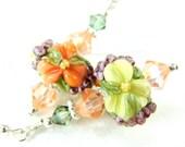 Peach Floral Lampwork Earrings, Yellow Peach Coral Glass Bead Earrings, Spring Earrings, Pastel Earrings - Spring Morning