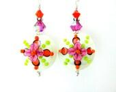 Neon Dangle Earrings, Pink Orange Lime Earrings, Lampwork Earrings, Glass Earrings, Summer Earrings, Colorful Earrings - Fiesta Flowers