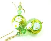 Spring Green Murano Glass Bead Earrings, Bright Green Gold White Venetian Glass Earrings, Green Glass Earrings - Opulence