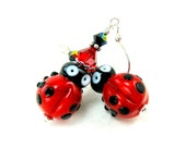 Ladybug Earrings, Red Black Ladybug Lampwork Bead Earrings, Glass Ladybug Earrings, Red Black Ladybug Glass Bead Earrings -  Ladybugs