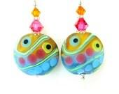 Colorful Glass Bead Earrings, Aqua Blue Pink Orange Lampwork Earrings, Colorful Earrings, Neon Earrings - Beach Party