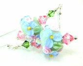 Pastel Floral Lampwork Earrings, Mint Green Pink Blue Glass Bead Earrings, Flower Earrings, Pastel Earrings- Summer Mint