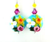 Daffodil Earrings, Turquoise Yellow Pink Floral Lampwork Earrings, Colorful Glass Bead Earrings,  Flower Earrings  - Summer Bouquet