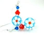 Daisy Earrings, Lampwork Earrings, Turquoise Blue Orange White Earrings, Beadwork Earrings, Floral Earrings, Dangle Earrings - Daisy