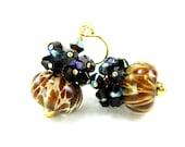 Brown Glass Earrings, Amber Brown Boro Lampwork Earrings, Fall Earrings, Gold Filled Earring, Chocolate Brown Earrings - Mocha Frappuccino
