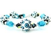 RESERVED  Lampwork Bracelet, Blue & White Bracelet, Denim Blue Ivory Beadwork Bracelet, Geometric Bracelet, Modern Bracelet Crystal Bracelet