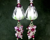 Pink Tulip Earrings, Flower Earrings, Spring Earrings, Pearl & Crystal Dangle Earrings, Floral Jewelry, Nature Jewelry, Lampwork Earrings