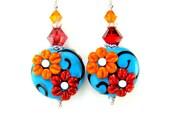 Flower Earrings, Turquoise Red Orange Floral Lampwork Earrings, Colorful Earrings, Turquoise Red Orange Glass Earrings - Happy Days