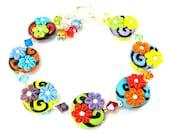 Rainbow Bracelet, Colorful Jewelry, Lampwork Bracelet, Floral Bracelet, Flower Bracelet, Colorful Bracelet, Rainbow Jewelry Rainbow Bouquet