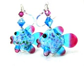 Fish Earrings, Animal Jewelry Turquoise Blue Pink Lampwork Earrings Tropical Fish Beach Ocean Nature Inspired Whimsical Fun  Hazel & Haddock