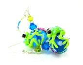 Frog Earrings, Blue Green Frog Lampwork Earrings, Green Blue Pink Glass Earrings, Neon Earrings, Colorful Earrings - Hop to It