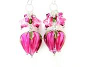 Hot Pink Flower Earrings, Fuchsia Tulip Lampwork Earrings, Pink Tulip Earrings, Pink Rose Earrings - Hanging Garden