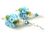 Botanical Earrings, Blue White Floral Earrings, Lampwork Earrings, Flower Earrings, Nature Earrings, Glass Dangle Earrings - Summer Blue