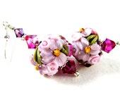 Purple Floral Lampwork Earrings, Purple Pink Amethyst Glass Bead Earrings, Flower Earrings, Lavender Earrings - Ambrosia