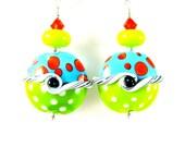 Colorful Beadwork Earrings, Green Orange Turquoise Glass Earrings, Lampwork Earrings, Polka Dot Earrings, Tropical Earrings - Crazy Wave