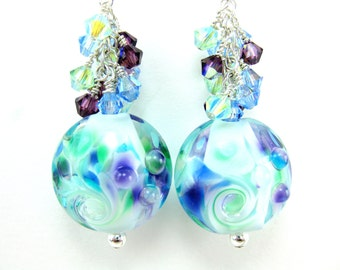 Blue Purple Glass Dangle Earrings, Light Blue Purple Green Earrings, Lampwork Earrings, Crystal Earrings, Beadwork Earrings - Blue Lagoon
