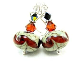 Red & Ivory Earrings, Boro Lampwork Earrings, Red Sage Green Earrings, Glass Earrings, Beadwork Earrings, Dangle Earrings - Tomato Bisque
