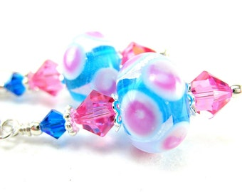 Hot Pink & Blue Earrings, Polka Dot Earrings, Beadwork Earrings,  Lampwork Earrings, Glass Earrings,  Dangle Earrings, Polka Dots - Soda Pop