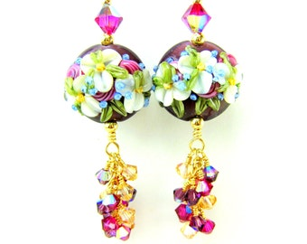 Floral Dangle Earrings, Purple Fuchsia & White Earrings, Lampwork Earrings, Flower Earrings, Gold Filled Earrings, Pretty Earrings Eloquence