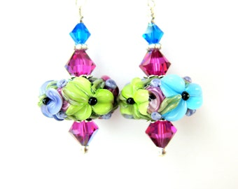 Colorful Floral Earrings, Lampwork Earrings, Flower Earrings, Pink Blue Green Earrings, Glass Earrings, Beadwork Earrings - Bright & Bold