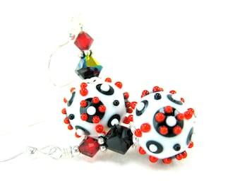 Geometric Earrings, Red Black White Glass Earrings, Lampwork Earrings, Modern Earrings, Contemporary Earrings, Dangle Earrings - Android