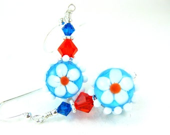Daisy Earrings, Lampwork Earrings, Turquoise Blue Orange White Earrings, Beadwork Earrings, Floral Earrings, Dangle Earrings - Daisy