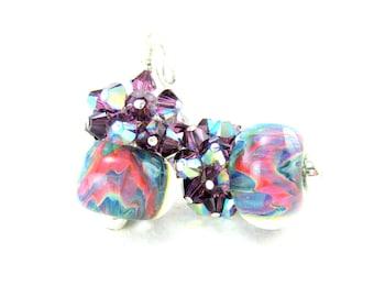 Colorful Statement Earrings, Purple Crystal Earrings, Boro Lampwork Glass Earrings, Purple Blue Pink Earrings, Cluster Earrings - Candy