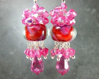 Pink Crystal Chandelier Earrings, Boro Lampwork Earrings, Purple Red Pink Earrings Crystal Jewelry Glass Dangle Earrings Strawberry Spritzer