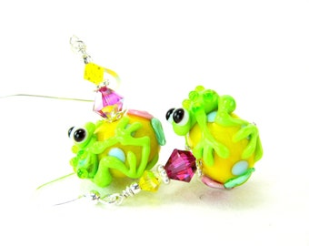 Lime Green Frog Earrings, Beadwork Earrings, Green Yellow Pink Glass Earrings, Lampwork Earrings, Animal Earrings - Leap Frog