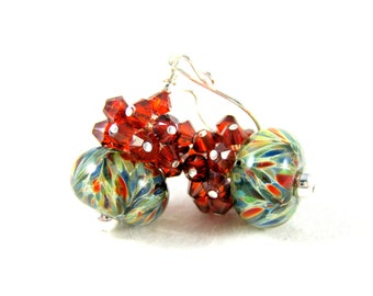 Rust Red Crystal Earrings, Rustic Earrings, Earth Tone Earrings, Colorful Boro Lampwork Glass Earrings, Woodland Red Blue Green  Afterburner