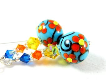 Colorful Floral Earrings, Glass Earrings, Turquoise Orange Yellow Earrings, Lampwork Earrings, Flower Earrings, Dangle Earrings - Marigolds