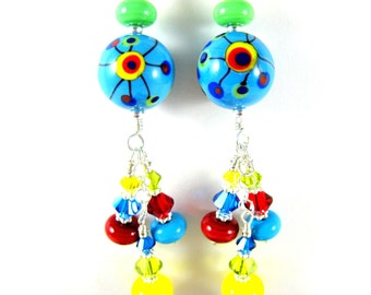 Colorful Funky Earrings, Lampwork Earrings, Glass Earrings, Rainbow Jewelry, Blue Yellow Red Earrings, Bright Colors Unique Earrings Pop Art