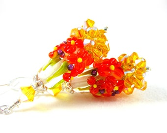 Orange Yellow Floral Earrings, Yellow Crystal Earrings, Lampwork Earrings, Nature Jewelry, Flower Earrings, Cluster Earrings - Golden Sunset