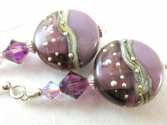 Purple Glass Bead Earrings Lampwork Amethyst Crystal Sterling Silver - Art Deco