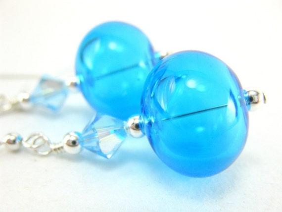 Blue Blown Glass Bead Earrings, Aqua Blue Hollow Bead Earrings, Aqua Blue Lampwork Glass Earrings - Aquavelva