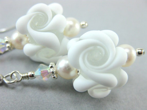 White Flower Lampwork Earrings, Freshwater Pearl Earrings, White Glass Earrings, White Earrings, Bridal Earrings - Vanilla Frosting
