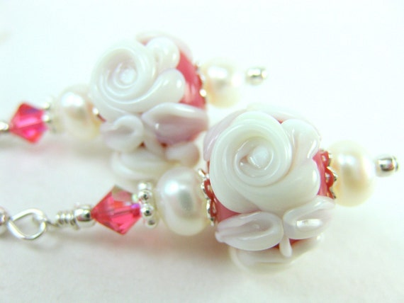 White Rose Earrings, Pink White Floral Lampwork Earrings, Ivory Cameo Rose Pink Glass Bead Earrings, Pearl Earrings - A Rose Is A Rose