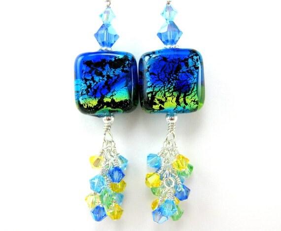 Cobalt Blue Glass Earrings, Cobalt Blue Yellow Aqua Green Lampwork Bead Earrings, Cobalt Blue Earrings - Tropical Rains