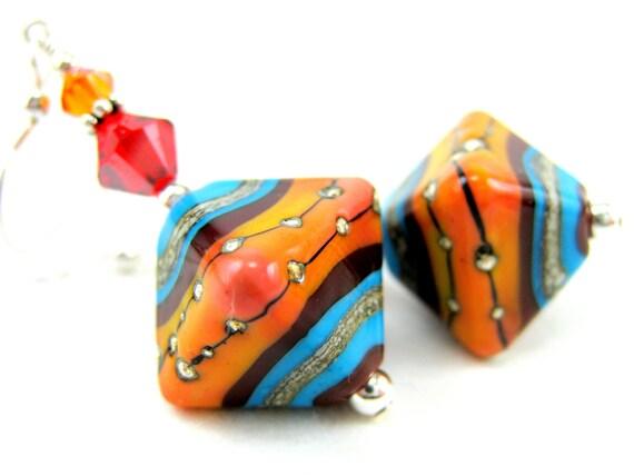 Orange Blue Glass Earrings, Turquoise Blue Orange Lampwork Bead Earrings, Sterling Silver Crystal - Red River Canyon