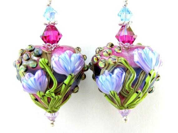 Heart Earrings, Purple Hot Pink Blue Floral Heart Lampwork Glass Bead Earrings, Crystal Sterling Silver - Let Your Love Grow