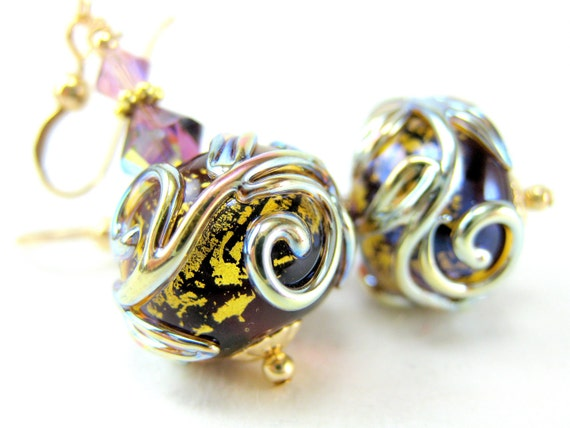 Purple Glass Earrings, Amethyst Gold Lampwork Bead Earrings, 14k Gold Filled Earrings, Amethyst Glass Earrings, Purple Earrings - Ciao
