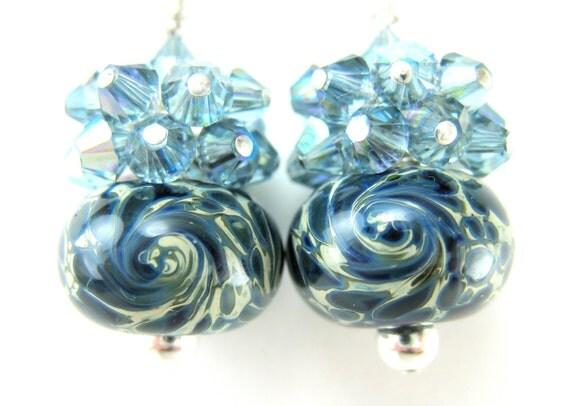 Blue Glass Earrings, Navy Blue Boro Lampwork Earrings, Blue Crystal Earrings, Sterling Silver Earrings - Nebula