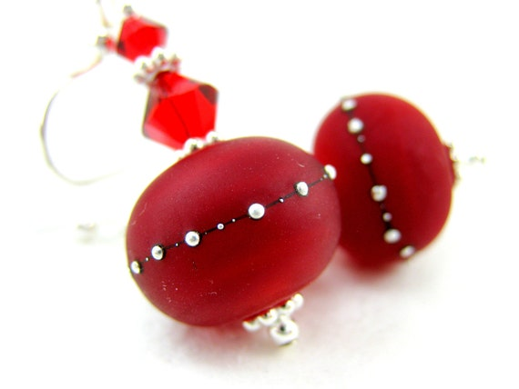 Red Glass Earrings, Red Lampwork Earrings, Red Earrings, Dark Cherry Red Earrings, Summer Earrings - Scarlett O'Hara