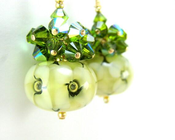 Ivory & Green Floral Earrings, White Flower Earrings, Lampwork Earrings, Green Crystal Earrings, Gold Filled Beadwork Earrings -  Dahlias