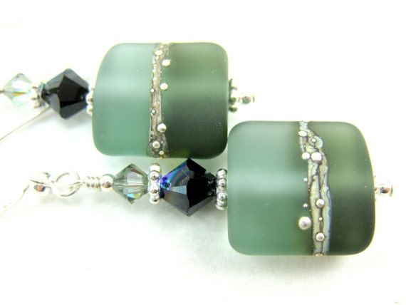 Charcoal Gray Glass Bead Earrings, Gray Black Lampwork Earrings, Gray Glass Earrings, Etched Lampwork Earrings - Smoldering Charcoal