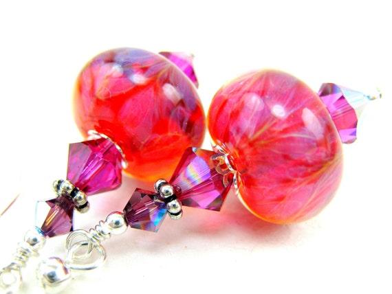 Hot Pink Earrings, Hot Pink Purple Glass Earrings, Pink Purple Boro Lampwork Glass Bead Earrings, Fuchsia Earrings - Strawberry Kool Aid
