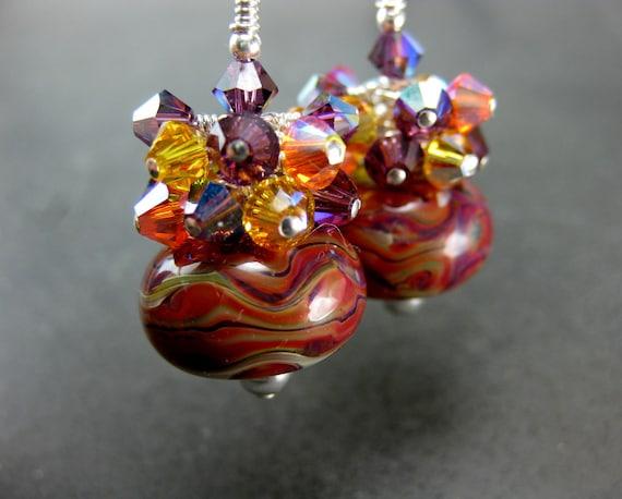 Glass Earrings, Orange Purple Green Yellow Boro Lampwork Bead Earrings, Crystal Cluster Earrings, Colorful Earrings - Beautiful Sunset