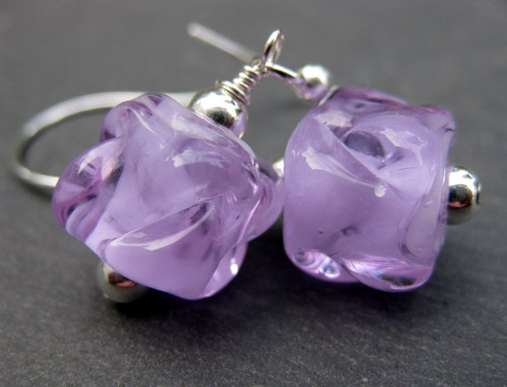 Orchid Purple Glass Earrings, Purple Boro Lampwork Glass Cube Bead Earrings, Purple Earrings, Sterling Silver Hoop Earrings - Orchid Ice